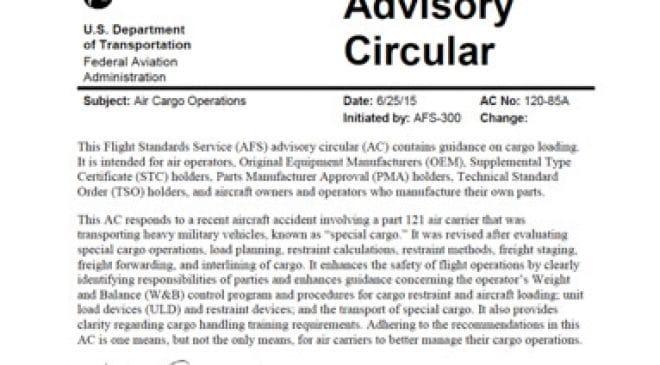 Introducing FAA AC 120-85 A